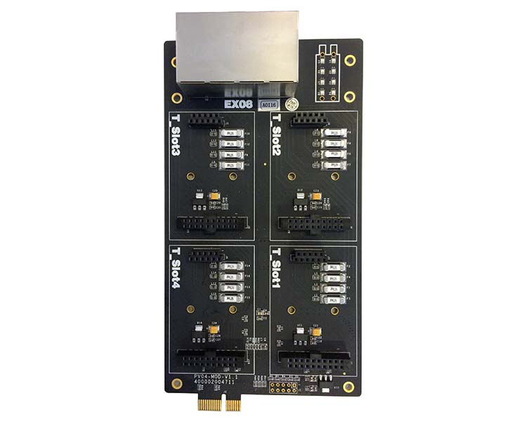 Yeastar EX08 4 onboard module slots and 8 interfaces on the panel