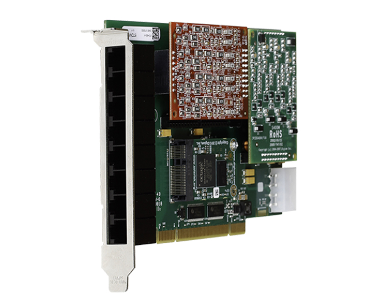 Digium 1A8B04F 8 port modular analog PCI-Express x1 card with 4 FXS and 4 FXO interfaces and HW Echo Can