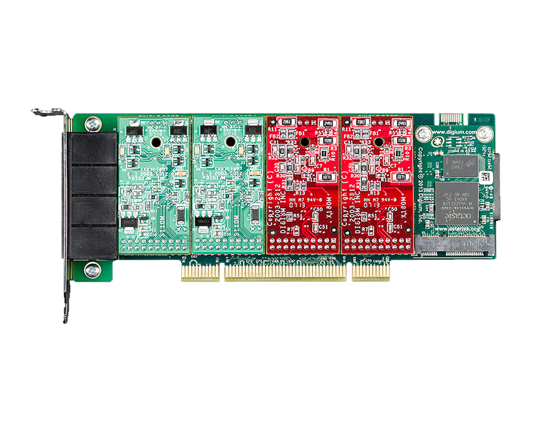 Digium 1A4A04F 4 port modular analog PCI 3.3/5.0V card with 2 FXS and 2 FXO interfaces and HW Echo Can