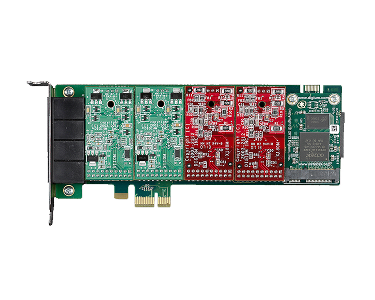 Digium 1A4B04F 4 port modular analog PCI-Express x1 card with 2 FXS and 2 FXO interfaces and HW Echo Can