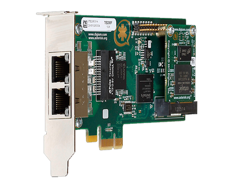 Digium Dual Span Digital T1/E1/J1/PRI PCI-Express x1 Card (1TE235F)
