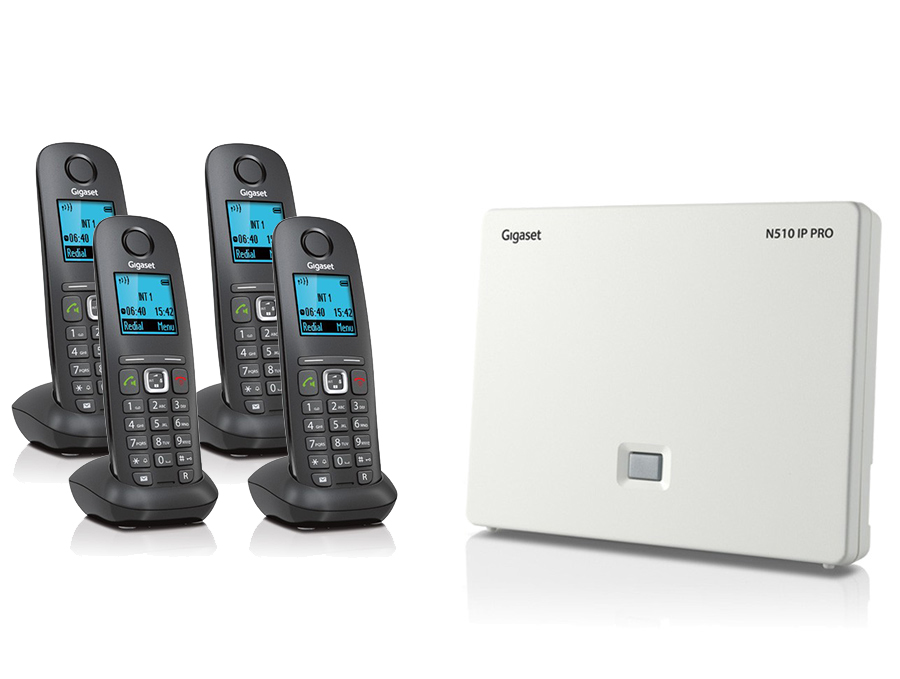 Gigaset N510IP Base Station and Gigaset A540H DECT Phone Bundle - Four Handsets
