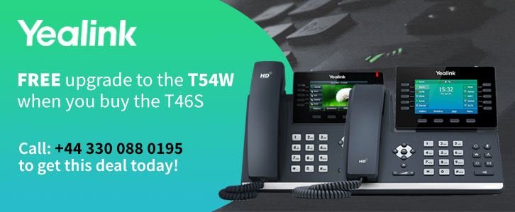 FREE upgrade to Yealink T54W when purchasing the T46S