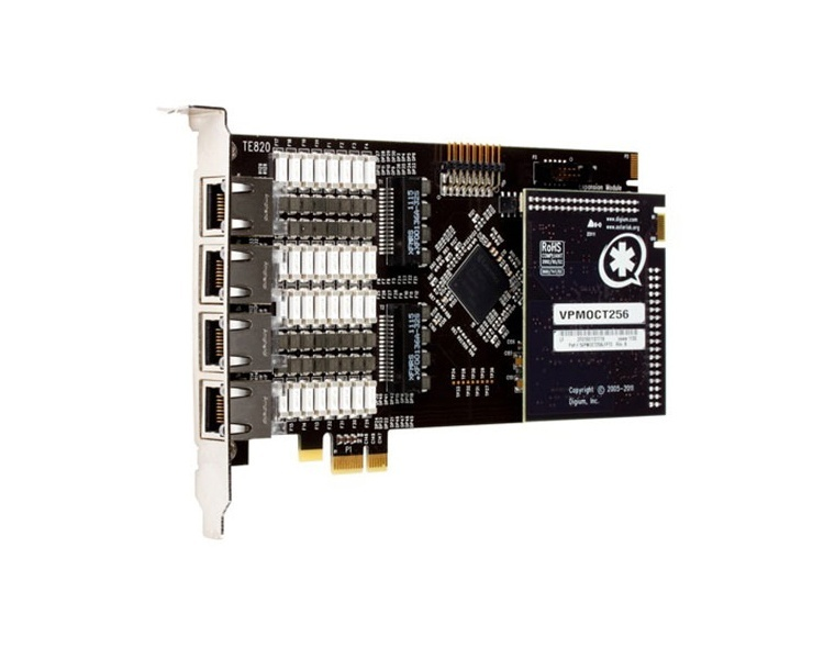 Digium Wildcard TE820 PCI Express ISDN PRI Card with Echo Cancellation (1TE820BF)