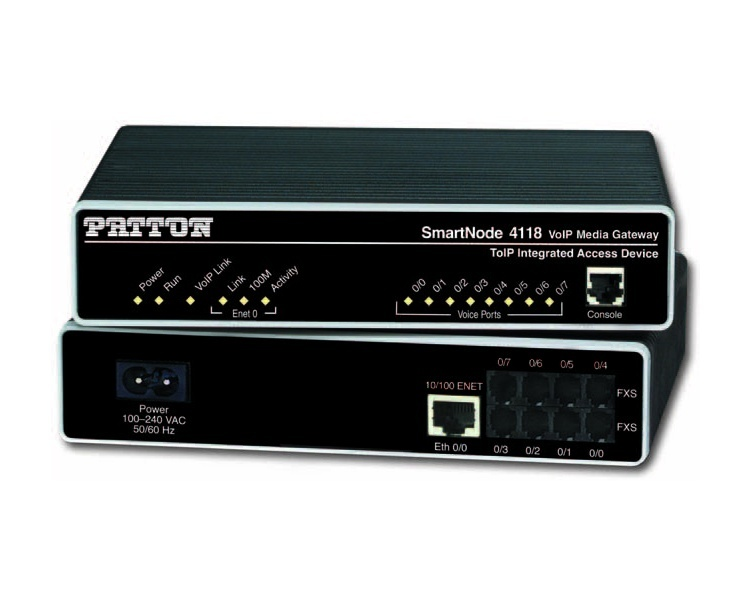 Patton SmartNode SN4118/4JS4JO 4 x FXS, 4 x FXO Analogue Gateway