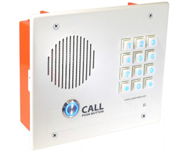 CyberData Singlewire InformaCast-enabled VoIP Indoor Flush Mount Intercom with Keypad (011308)