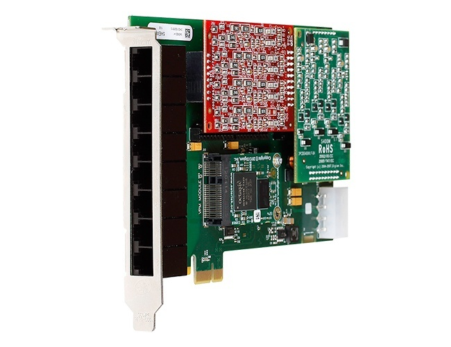 Digium 1HA8-0000BLF 8 Port Hybrid PCI 3.3/5.0V card, no interfaces with HW Echo Can
