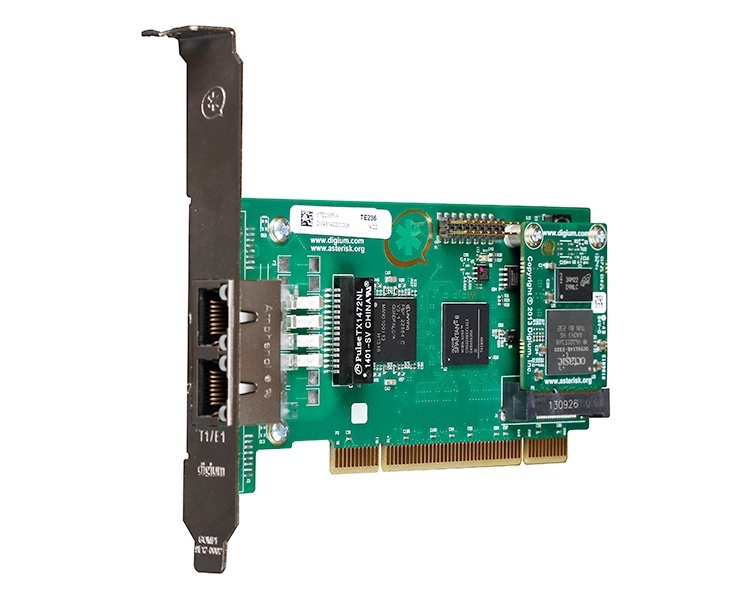 Digium TE236 Two Span Digital T1/E1/J1/PRI PCI 3.3V/5.0V Card and Hardware Echo Cancellation VPM064 (1TE236BF)