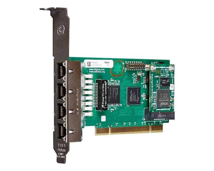 Digium TE436 Four Span Digital T1/E1/J1/PRI PCI 3.3V/5.0V Card and Hardware Echo Cancellation VPM128 (1TE436BF)
