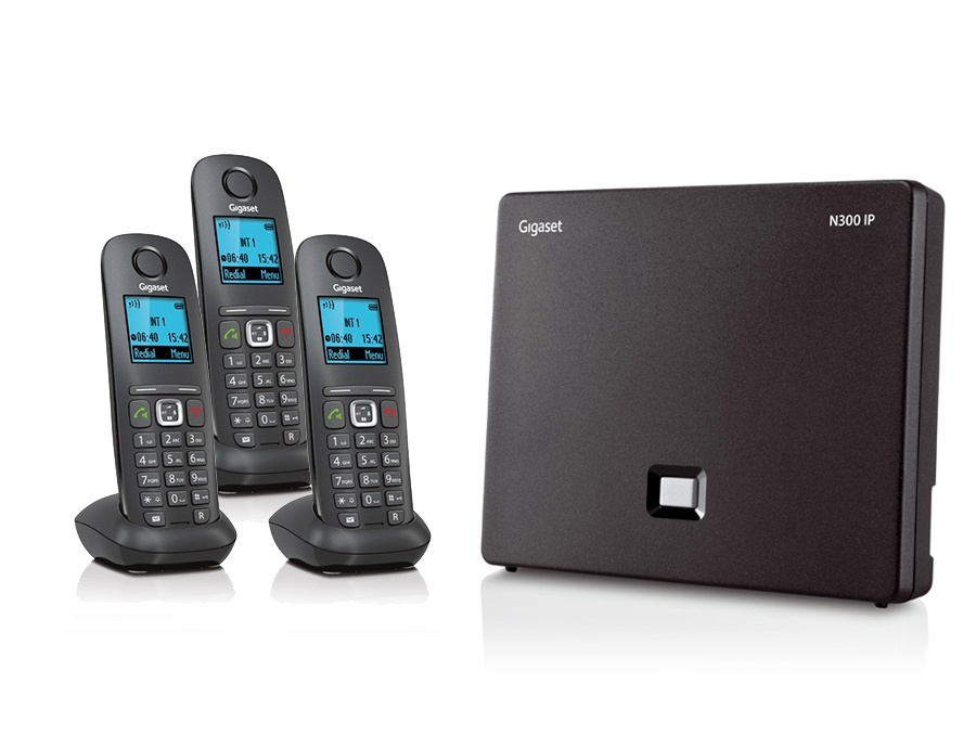 Gigaset N300IP Base Station and Gigaset A540H DECT Phone Bundle - Three Handsets