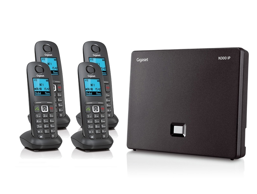 Gigaset N300IP Base Station and Gigaset A540H DECT Phone Bundle - Four Handsets
