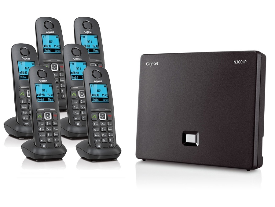 Gigaset N300IP Base Station and Gigaset A540H DECT Phone Bundle - Six Handsets