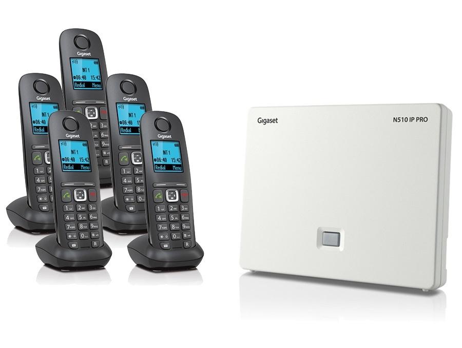 Gigaset N510IP Base Station and Gigaset A540H DECT Phone Bundle - Five Handsets