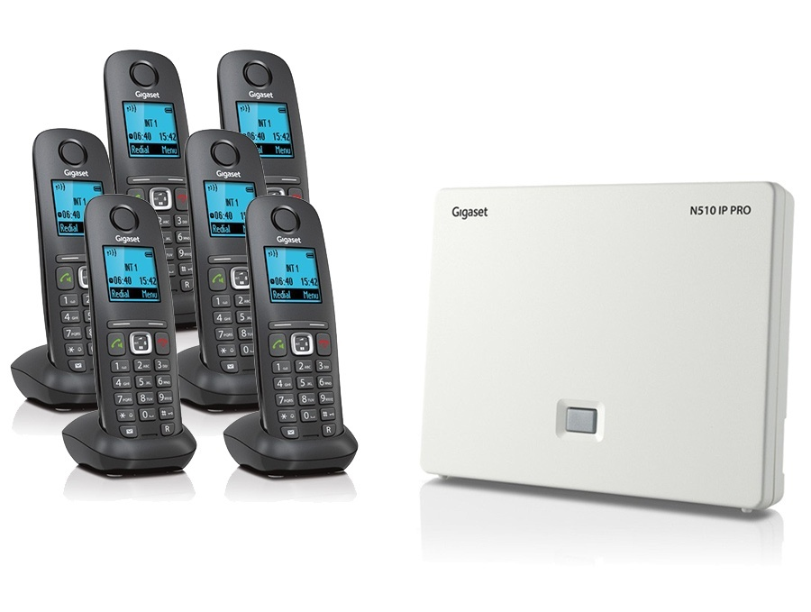 Gigaset N510IP Base Station and Gigaset A540H DECT Phone Bundle - Six Handsets